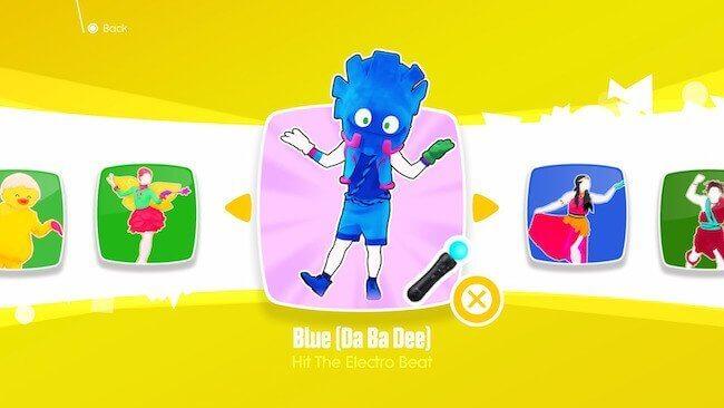 Una schermata di scelta canzone della modalità Just Dance Kids