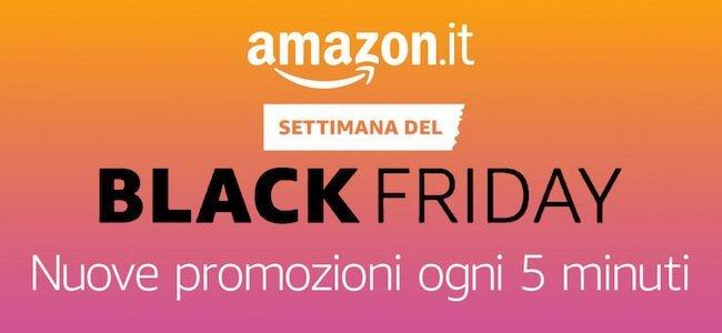 Banner con scritto Amazon Settimana del Black Friday - Promozioni ogni cinque minuti