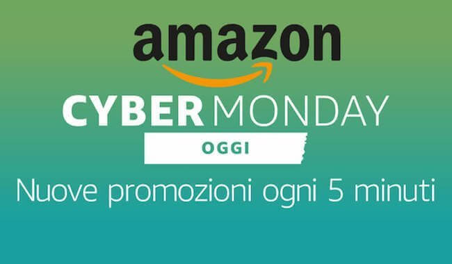 Banner con scritto Amazon Cyber Monday - Promozioni ogni cinque minuti