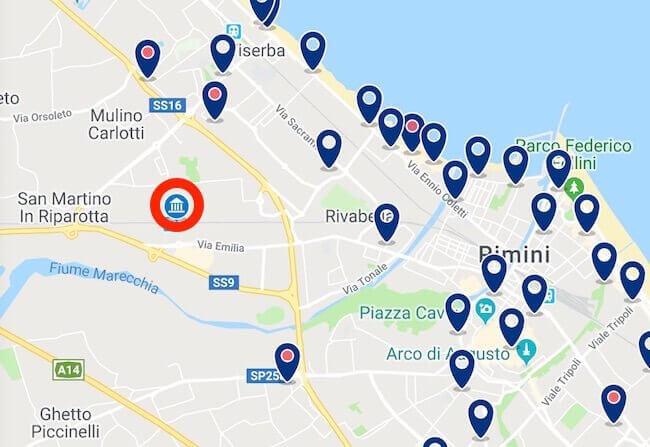 Mappa degli hotel vicini a Rimini Fiera su Booking.com