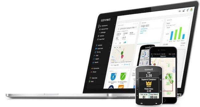 Un MacBook ed alcuni device mobili con l'app Garmin Connect