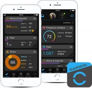 Due iPhone bianchi con app Garmin Connect Mobile aperta