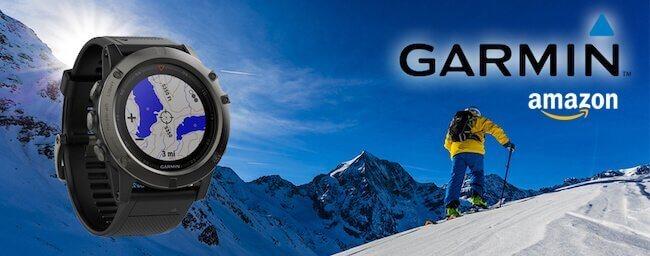 Banner con uno smartwatch Garmin con uno sfondo innevato e la scritta Garmin Amazon