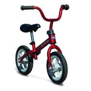 Bicicletta Chicco di colore rosso senza pedali