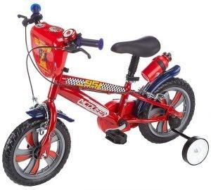 Bicicletta Disney Cars di colore rosso con pedali e rotelle