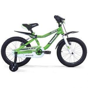 Bicicletta Kawasaki verde da bambino con rotelle