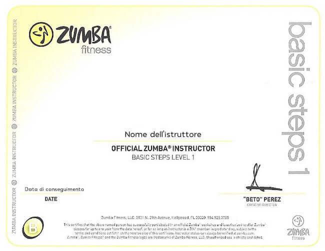 Fac simile del certificato di completamento del corso ufficiale Zumba Basic 1