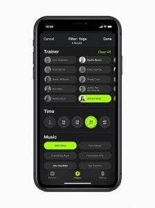 Schermata di iPhone che mostra i filtri di ricerca di una sessione di allenamento su Apple Fitness+